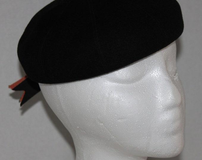 Vintage Beret, 1950s, Ritz Henry Pollak, Black Wool Hat