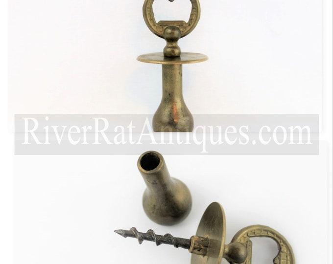Vintage Corkscrew, Solid Brass Bottle Opener with Hidden Corkscrew and Muddler, Wine Opener