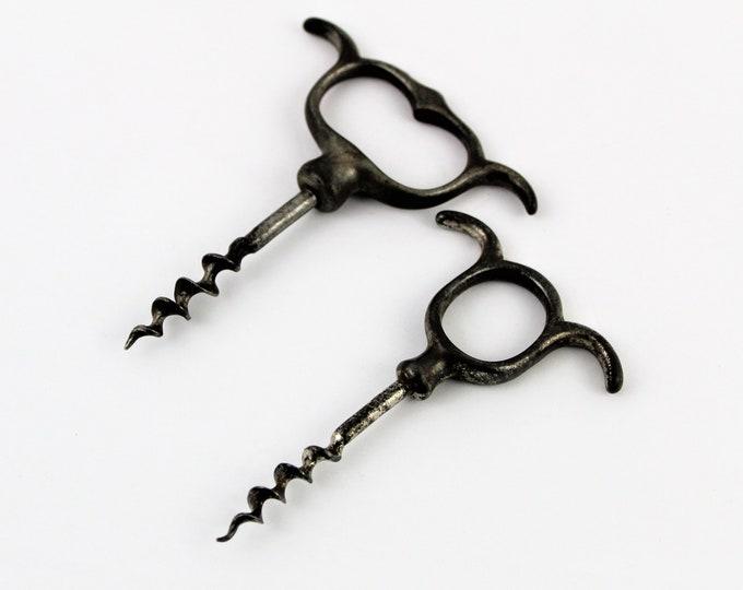 Antique Pair of Steel Corkscrews, Three Finger and Four Finger Steel Pull Corkscrews, Wine Opener