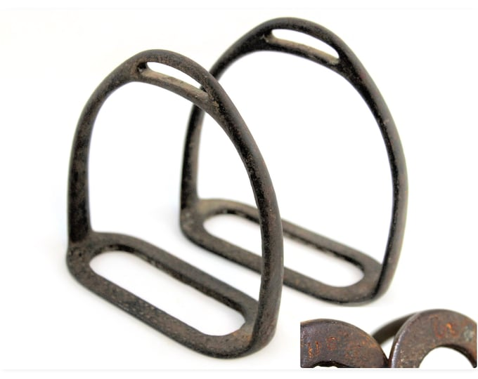 Antique US Cavalry, WWI US Army Cavalry Stirrups, Western Memorabilia, Western Home Decor