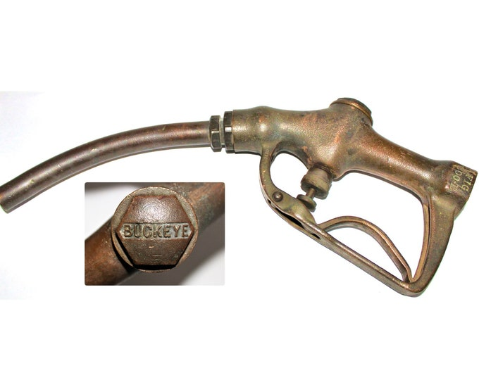 Buckeye Gas Pump Nozzle / Pump Handle / Brass Pump Handle / Gas Station Memorabilia / 1940s