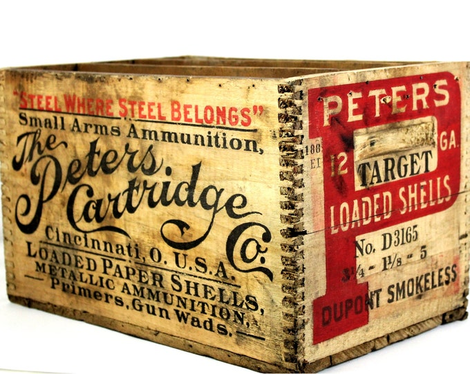 Antique Peters Cartridge Co. Wooden Ammunition Crate, Industrial Crate