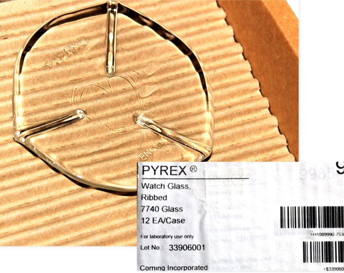 Pyrex 75mm Ribbed Watch Glasses, 9990-75 Pyrex Watch Glasses