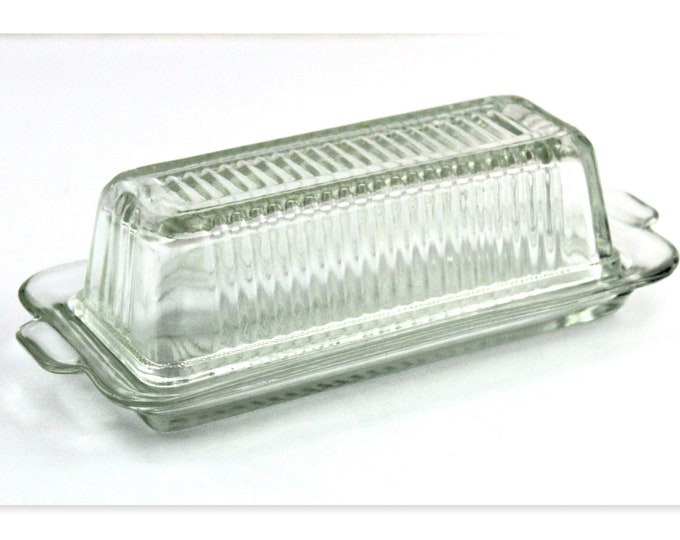 Vintage Pressed Glass Ribbed Butter Tray with Matching Cover