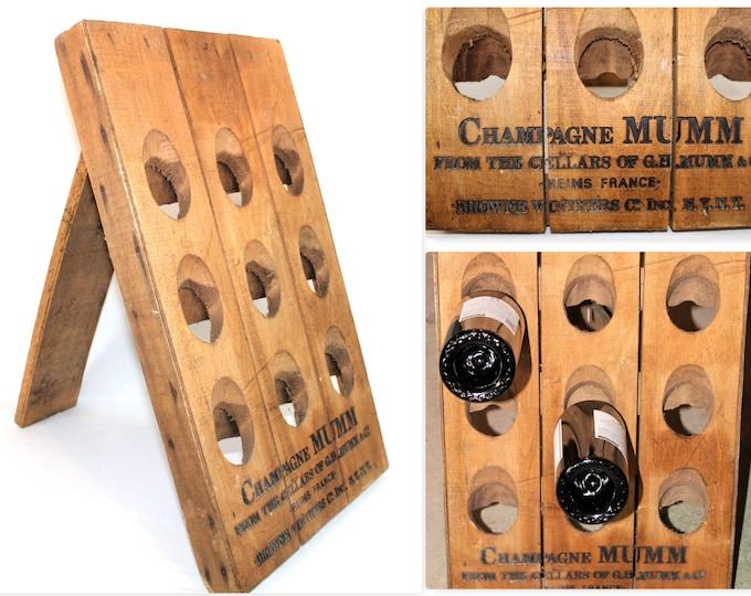 Vintage Barware / MUMM Champagne Riddling Rack / Bottle Display Rack / Advertising Display