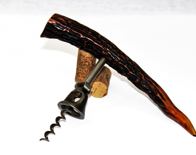 Antique Corkscrew / Antler Handle Corkscrew / Wine Bottle Opener / Antique Barware