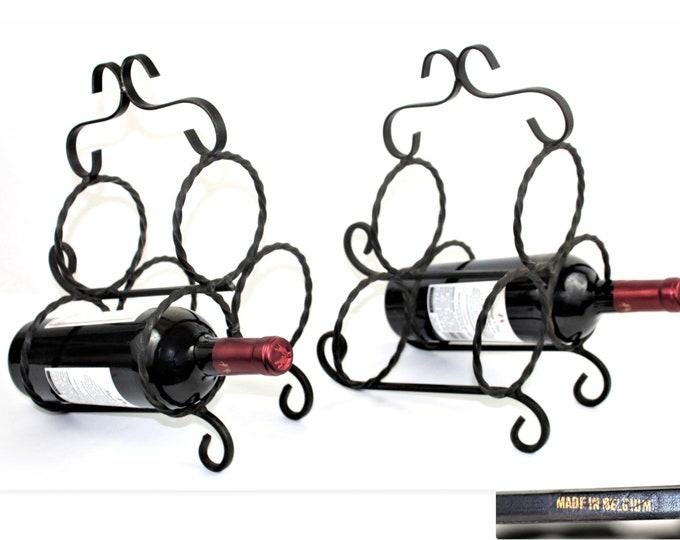 Vintage Wrought Iron Wine Racks, Made in Belgium