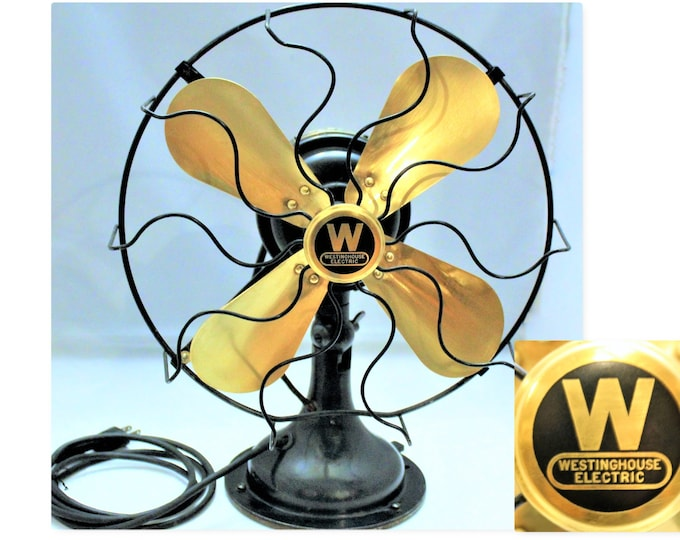 Antique 1919 Westinghouse Brass Blade Fan, Brass Fan