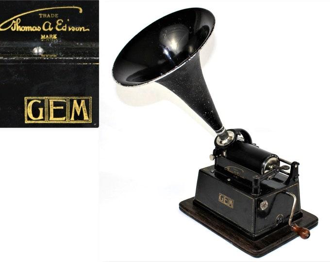 Antique Phonograph / 1903 Thomas Edison GEM Phonograph / Thomas Edison GEM
