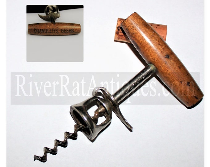 Antique Corkscrew, 1900s Chandler Brewing Advertising Corkscrew, Chandler Beer, Antique Breweriana