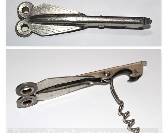 Vintage Corkscrew, Wizard Knife Sharpener, Wine Opener