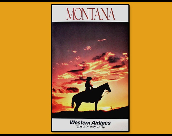 Vintage 1970s Western Airlines Travel Poster Featuring Montana Sunset, Unframed