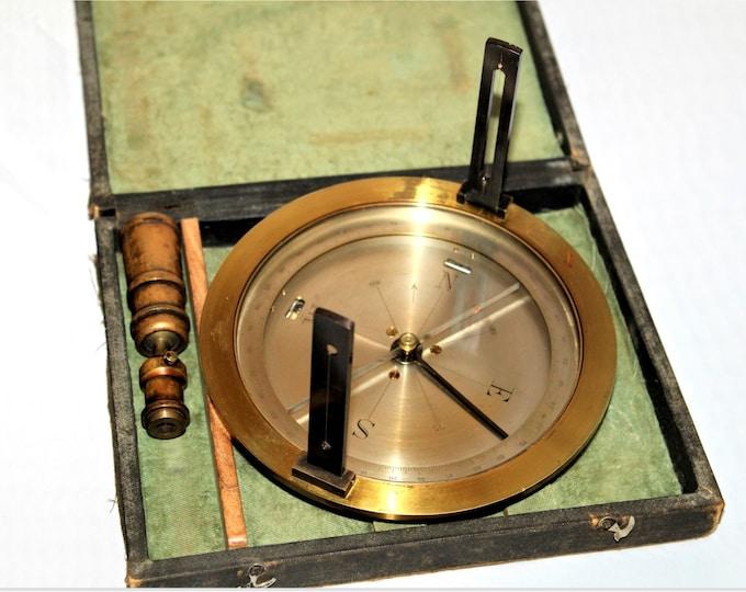 Antique Brass Surveyors Compass, Gerald Darrow Wyoming Mining,  Mining Surveyors Compass