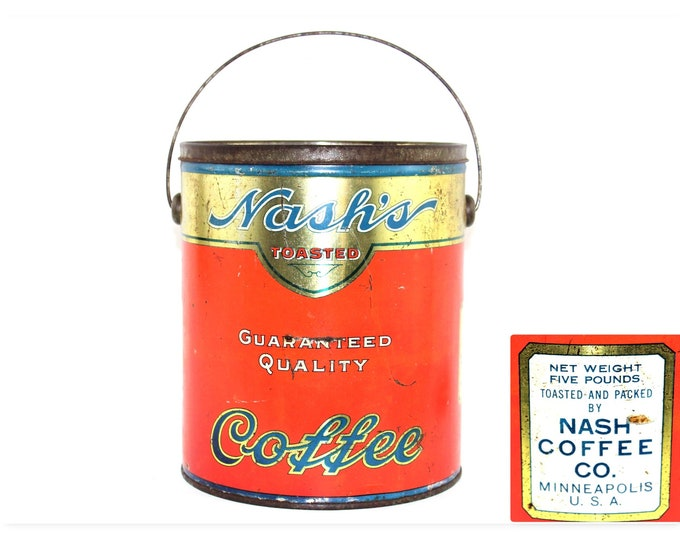 Vintage Coffee Tin, Coffee Shop Decor, Nashs Coffee Tin, Minneapolis 1920s,