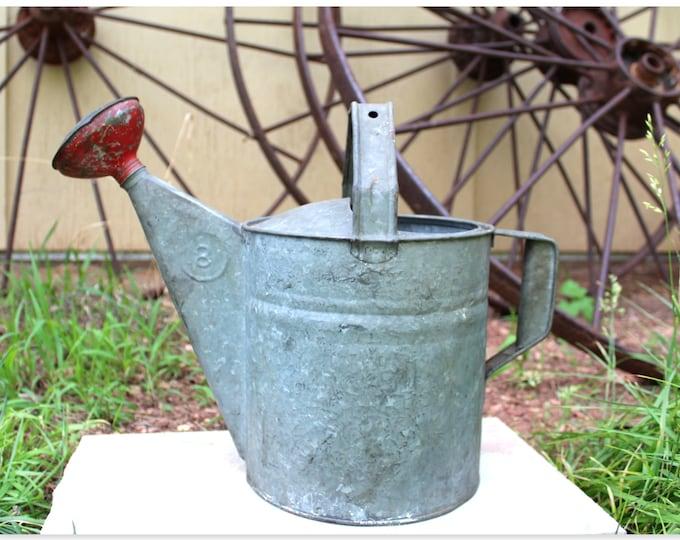 Vintage Galvanized Watering Can, Garden Decor