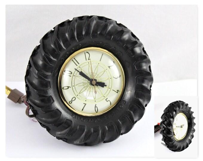 Vintage Farm Decor / GoodYear Tractor Tire Desk Clock / Vintage Desk Clock