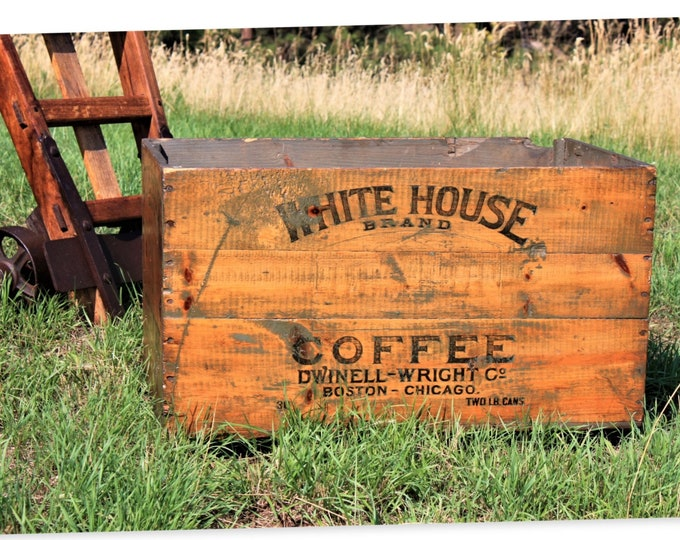 Antique Wood Crate, White House Brand Coffee, Wood Shipping Crate, Coffee Crate, 1909, Coffee Shop Decor
