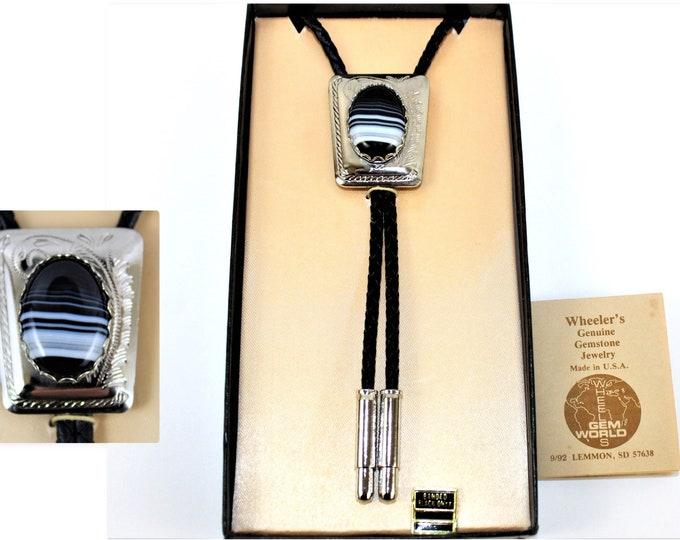 1992  Black & White Onyx Gemstone Western Bolo Tie, Western Americana