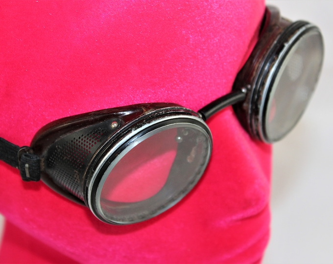Vintage Pair of American Optical Duralite-50 Safety Goggles, Biker Goggles