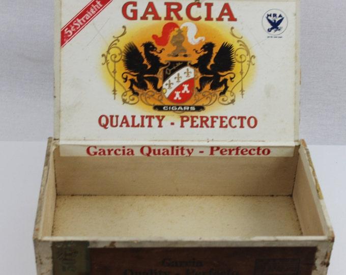 Vintage Early 1930s Garcia Quality - Perfecto Wood Cigar Box, Blue Eagle N.R.A. symbol