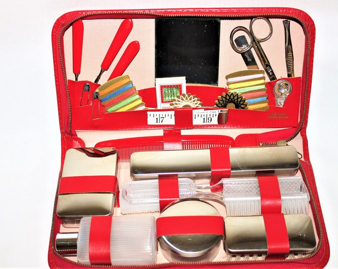 Vintage Toiletry Set / West German Leather Travel Case / Manicure & Toiletry Set
