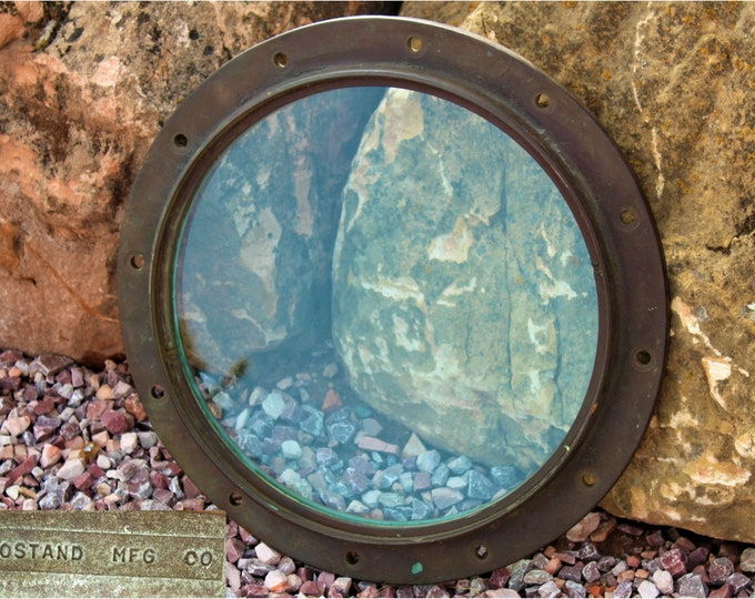 Antique Extra Large Brass Porthole Window, Rostand MFG, Nautical Décor