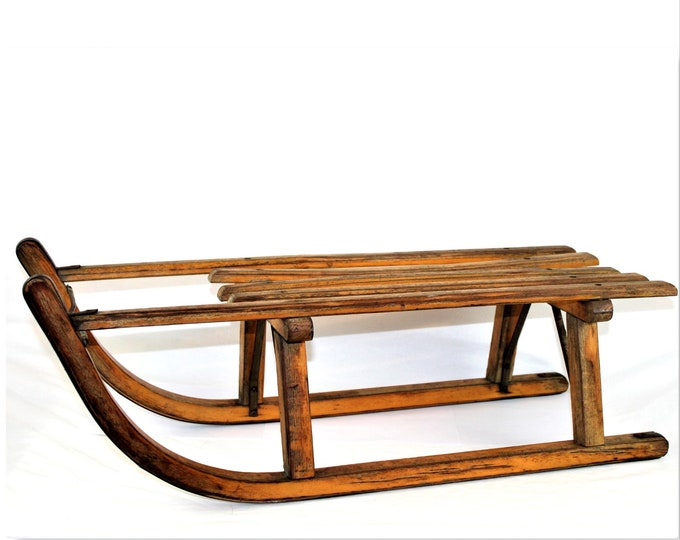 Vintage Davos Sledge / Wood Snow Sled / Front Porch Decor
