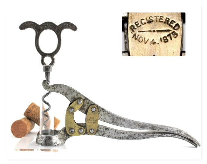 Antique Corkscrew, 1873 English Tangent Lever, Dated November 4, 1873.  Wine Opener