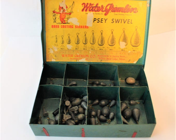 "Vintage 1960s Store Display ""Water Gremlin"" Dipsey Swivel Bass Casting Sinkers, White Bear Minnesota"