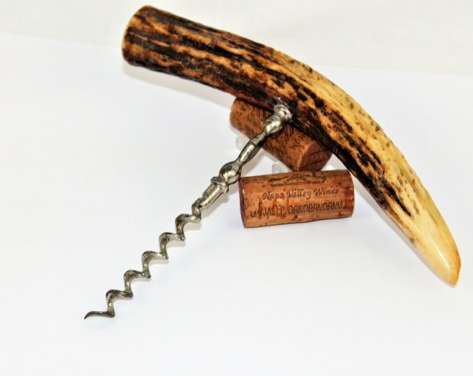 Antique Corkscrew / Stag Antler Handle Corkscrew / Wine Bottle Opener