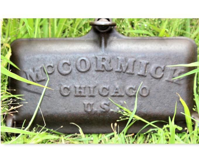 Antique Farm Tool / McCormick Tractor / Cast Iron Toolbox Lid