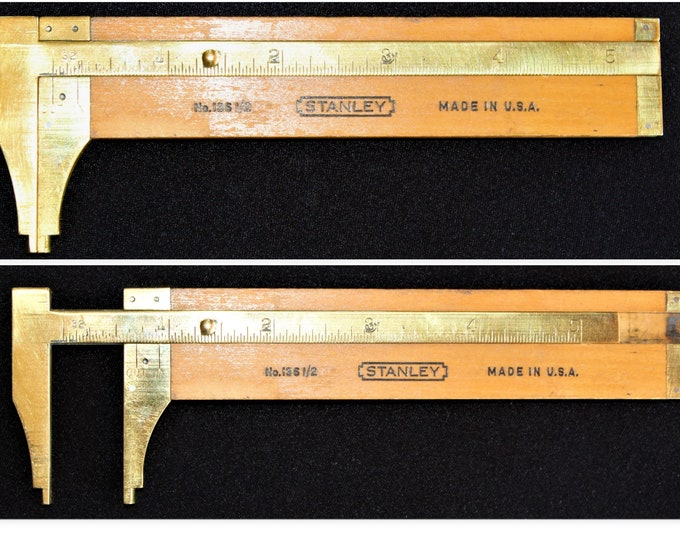 1940s Stanley No 136 1 2 Wooden Slide Caliper Rule,  Diameter Measuring