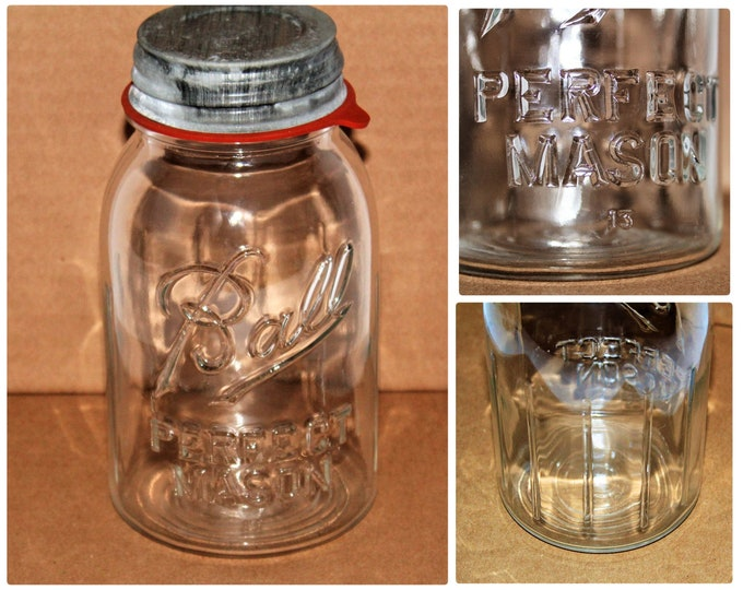 Ball Perfect Mason / Quart Size / Vintage Fruit Jar / Lucky Number 13 / Ribbed Glass Fruit Jar