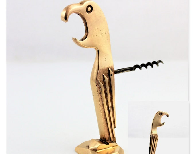 Vintage Corkscrew, Brass Parrot Bottle Opener & Corkscrew, 1929,  Wine Opener