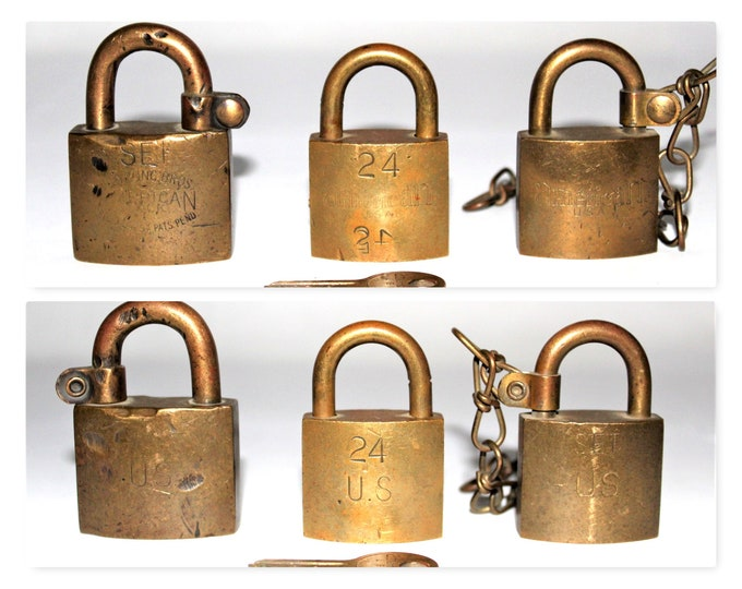 Vintage, Brass Padlocks, Three Solid Brass Locks, Junkunc Bros, American USA Padlocks, US Postal Lock