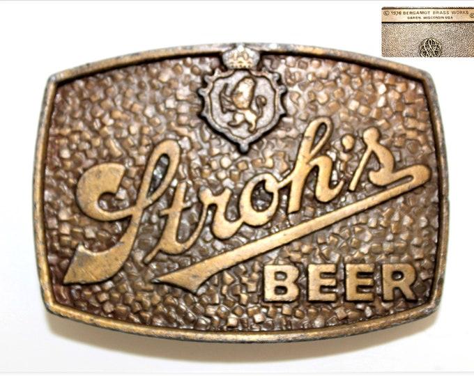 1976 Stroh's Beer Belt Buckle, Retro Belt Buckle