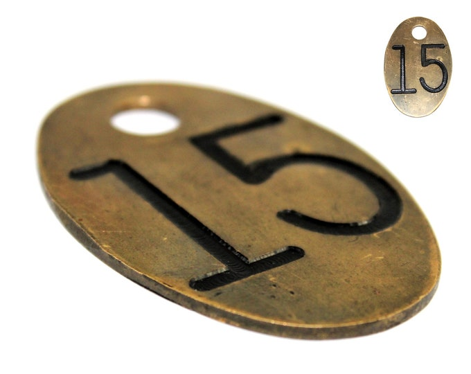 Vintage Farm / Brass Cow Tag / Number 15 / Identification Tag / Cattle Farm