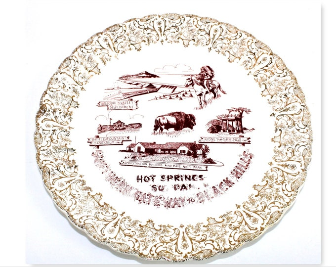 Vintage Souvenir Plate / Hot Springs South Dakota / South Dakota History