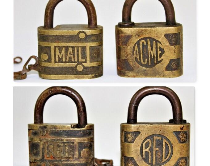 Vintage, Brass Padlocks, Rural Free Delivery, Postal Service Locks, RFD Padlocks, Mail Locks