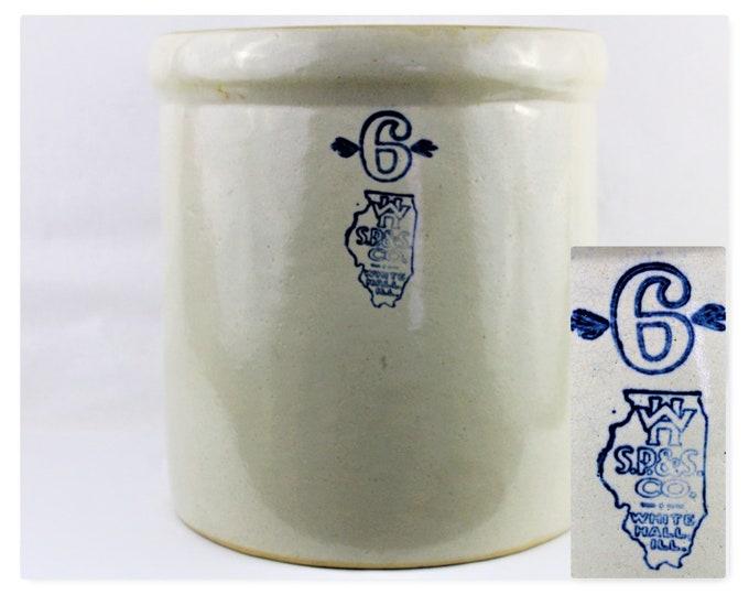 Vintage White Hall S. P. & S. Co, 6 Gallon Stoneware Crock