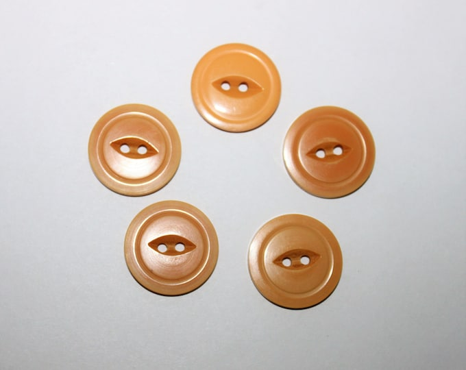 Five Bakelite Buttons, 5 Wheat Colored Bakelite Buttons