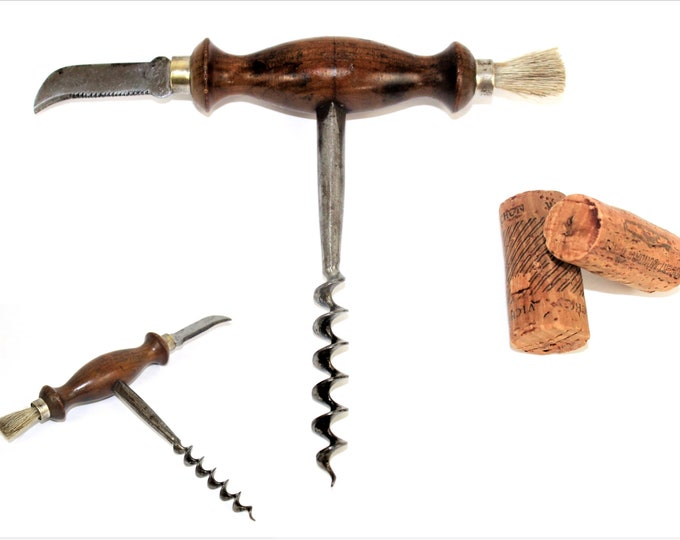 Antique Corkscrew with Foil Cutter and Dusting Brush, Wine Bottle Opener