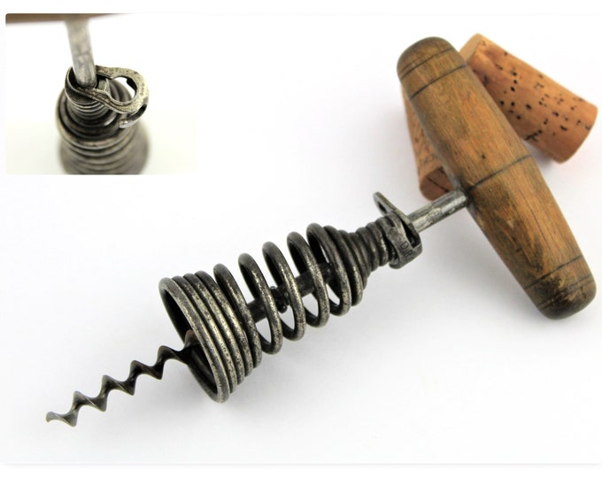Antique Corkscrew, 1906 German Spring Barrel Corkscrew by Georg Usbeck, Wine Opener