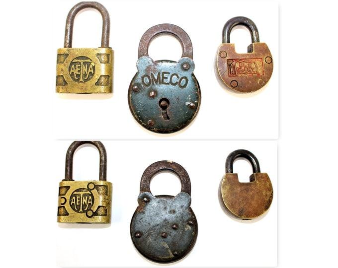 Three Vintage Padlocks, Old Glory, Omeco, Aetna Padlocks