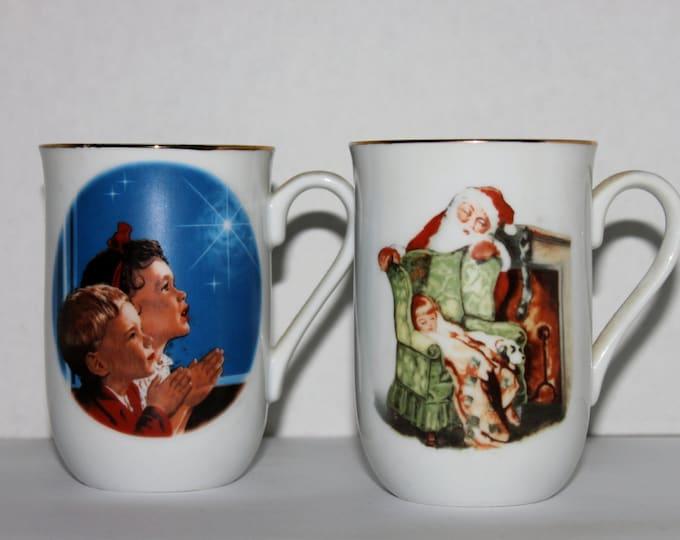 Vintage Christmas, Christmas Collector Cups, Norman Rockwell, Christmas Prayers, Waiting for Santa