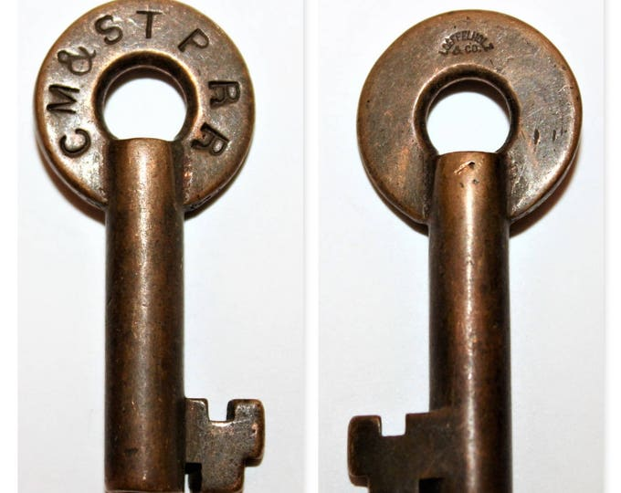 1900s Loeffelholz Co,  Brass Hollow Barrel Key, Chicago, Milwaukee, St. Paul Railroad, Switch Lock Key, Railroad Memorabilia