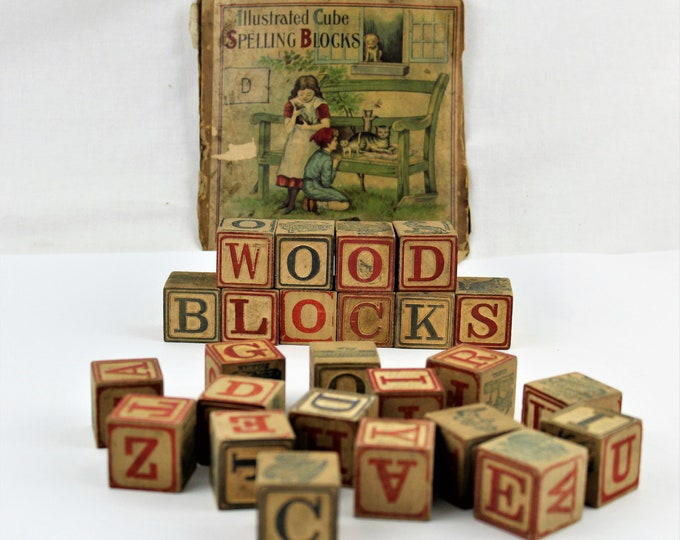 Vintage Childrens Spelling Blocks