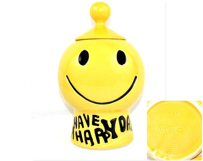 Vintage Cookie Jar / 1970s Smiley Face Cookie Jar / Have A Nice Day / McCoy USA