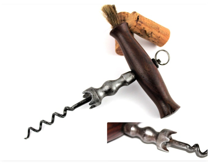 Antique 19th Century English Corkscrew with Deep Gripping Easer and Dusting Brush