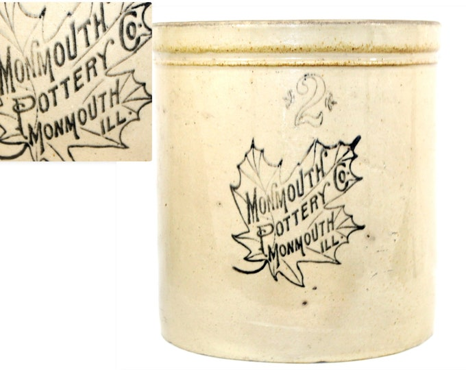 1890s Monmouth Pottery Co. Two Gallon Crock, Fermenting Crock, Pickling Crock